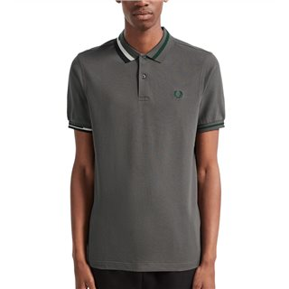 Fred Perry Gunmetal Abstract Collar Pique Shirt