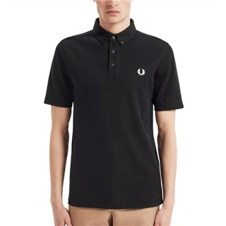 Fred Perry Black Button Down Polo Shirt