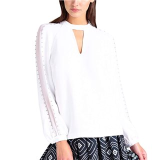 Guess True White Long Sleeve Savanna Blouse