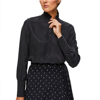 Selected Femme Black Silky Lexie Long Sleeved Top