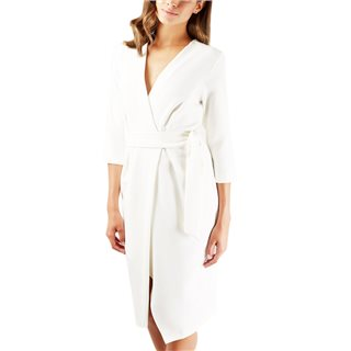 Closet London Ivory ¾ Sleeve Wrap Pencil Dress