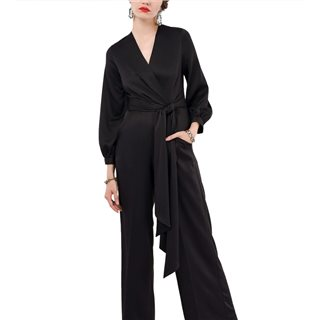 Closet London Black Pleated Wrap Top Jumpsuit