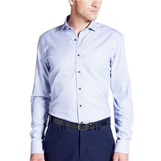 Eterna Blue Long Sleeve Slim Fit Structured Shirt