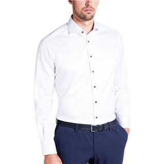 Eterna White Long Sleeve Modern Fit Twill Shirt