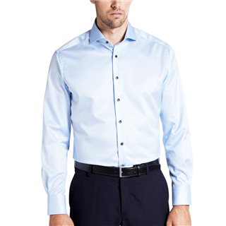 Eterna Blue Long Sleeve Modern Fit Twill Shirt