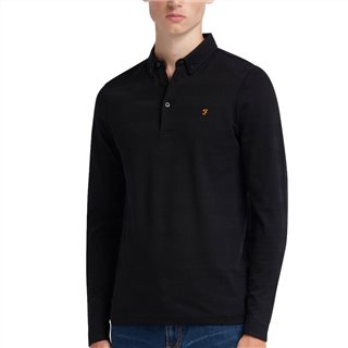 Farah Black Stapleton Long Sleeve Polo Shirt