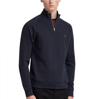 Farah True Navy Jim Quarter Zip Sweater
