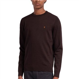 Farah Bordeaux Mullen Merino Wool Crew Neck Sweater