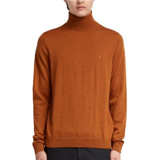 Farah Orange Gosforth Merino Roll Neck Jumper