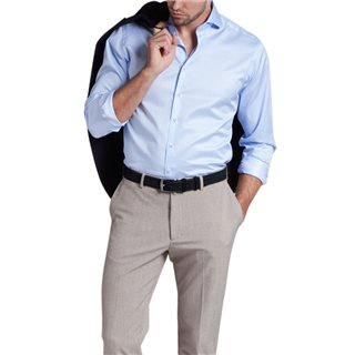 Eterna Light Blue Modern Fit Long Sleeve Twill Shirt