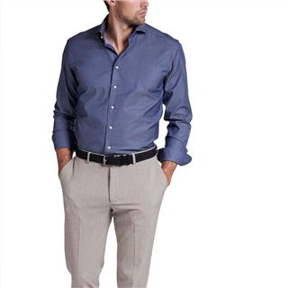 Eterna Dark Blue Modern Fit Long Sleeve Twill Shirt