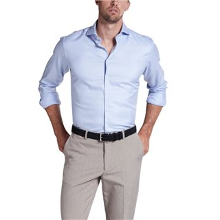 Eterna Blue/White Modern Fit Checked Long Sleeve  Twill Shirt