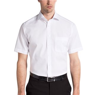 Eterna White Short Sleeve Modern Fit Poplin Shirt