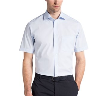 Eterna Light Blue Short Sleeve Modern Fit Poplin Shirt