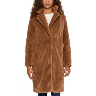 Vero Moda Tobacco Brown Long Teddy Jacket