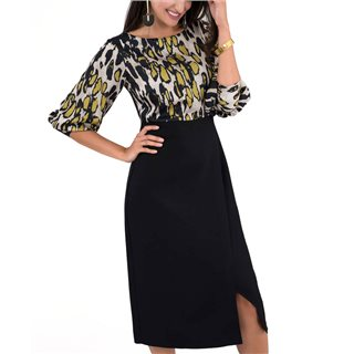 Closet London Black Leopard Print 2-In-1 Pencil Midi Dress