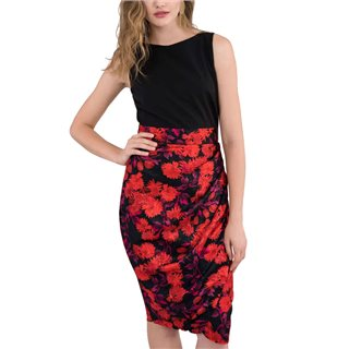 Closet London Red Floral 2-in-1 Pleated Pencil Dress