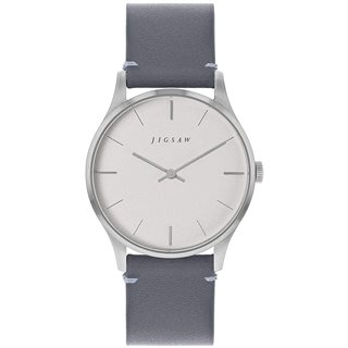 Jigsaw Grey/Silver Myddleton 35mm Leather Watch