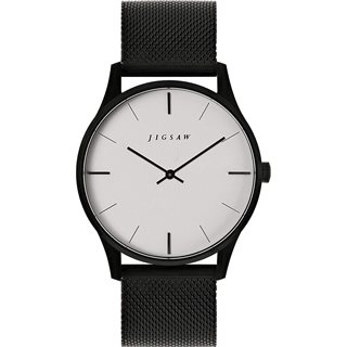 Jigsaw Black Portman 39mm Leather Watch