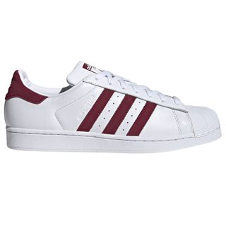 adidas Originals White / Burgundy Superstar Trainers