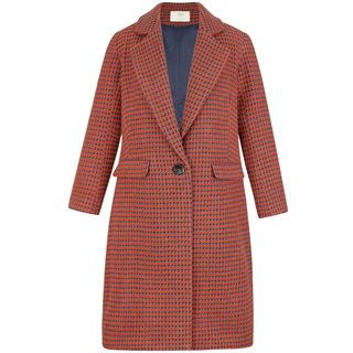 Cubic Orange Houndstooth Trench Coat