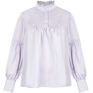 Cubic Lavander Satin Long Sleeve Shirt