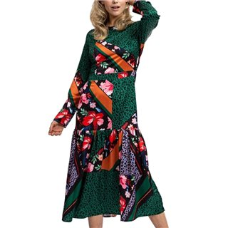 Liquorish Green Animal Mix Floral Scarf Print Midaxi Crew Neck Dress With Long Sleeves