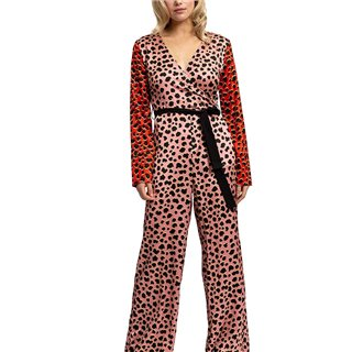 Liquorish Two Tones Animal Printed Jumpsuit With Black Belt