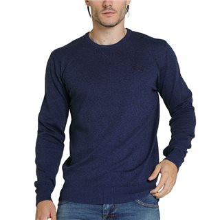 Diesel Navy Dale Crew Neck Melange Knit Sweater