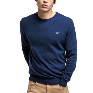 Gant Marine Super Fine Lambswool Crew Neck Sweater
