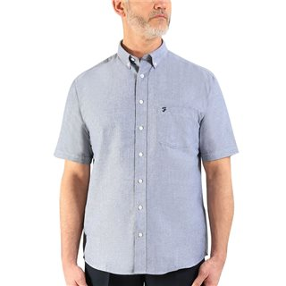 Farah Navy Drayton Short Sleeve Oxford Shirt