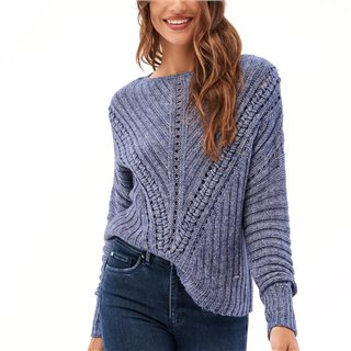 Salsa Navy Knitted Jersey With Braid