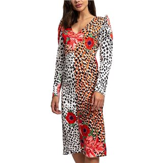 Liquorish Animal & Floral Mix Print Long Sleeve Midi Dress