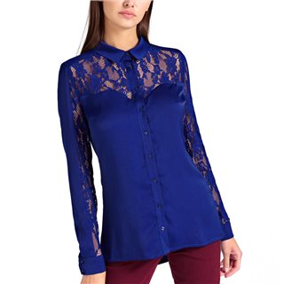 Guess Blue Shirt Lace Top Part And Sleeves