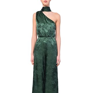 True Decadence Forest Green Brocade One Shoulder Jumpsuit