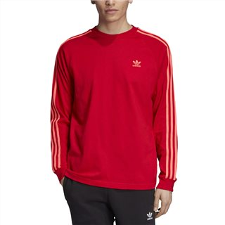 adidas Originals Red 3-Stripes Long-Sleeve Top