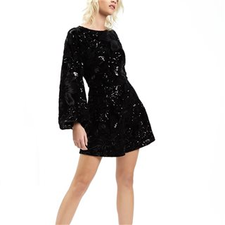 Traffic People Black Velvet And Sequin Bambi Playsuit