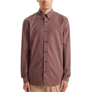 Fred Perry Crimson Three Colour Gingham Shirt