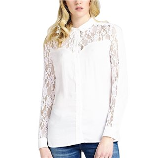 Guess Shirt Lace Top Part And Sleeves