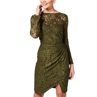 Paperdolls Ama Olive Ruched Lace Dress