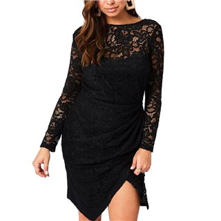 Paperdolls Ama Black Ruched Lace Dress