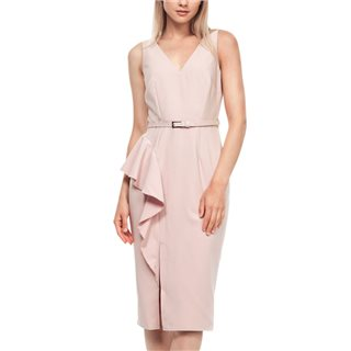 Paperdolls Pink Frill Belted Pencil Dress