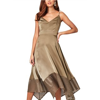 Little Mistress Laurie Khaki Satin Midaxi Dress