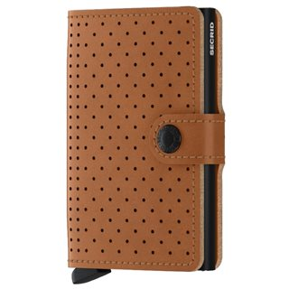 Secrid Cognac Perforated Leather Mini Wallet