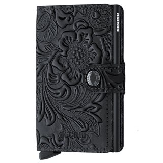 Secrid Black Ornament Leather Mini Wallet
