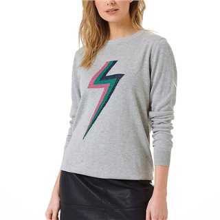 Sugarhill Brighton Grey Marl Rita Flash Of Lightning Sweater