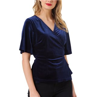 Sugarhill Brighton Royal Navy Indi Velvet Wrap Top