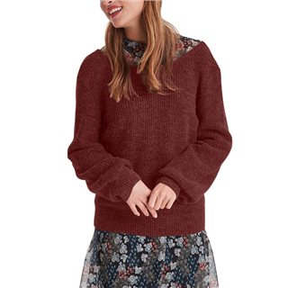 ICHI Russet Brown Knitted Pullover