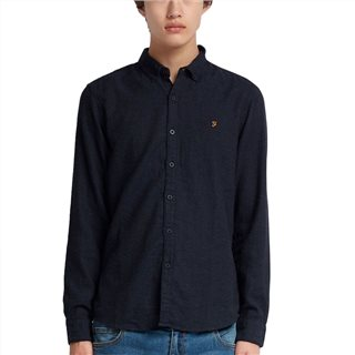 Farah Navy Kreo Slim Fit Brushed Cotton Shirt