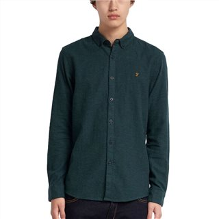 Farah Bright Emerald Kreo Slim Fit Brushed Cotton Shirt